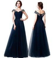 Kundenspezifische elegante Marine-Blau weg vom Schulter-Tulle-Abend-Kleider wulstige Abendkleider bodenlangen Abendkleid