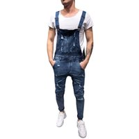 6bad8c87fd9c New Arrival. Clothing men s fashion Hole Casual Comfort boys Denim  Carpenter Overalls ...