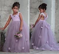 2019 Hermosas flores lavanda vestidos de flores en 3D Vestidos de chicas para la fiesta de bodas de los niños