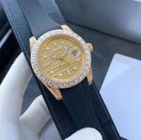 hommes d'affaires de la mode classique 42 mm tout en caoutchouc diamant cadran étoile boucle Montre étanche mécanique automatique mode hommes