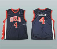 2004 Олимпийская команда Dream США USA ALLEN IVERSON # 4 Ретро Баскетбол Джерси Mens Shist Custom Любое имя Имя