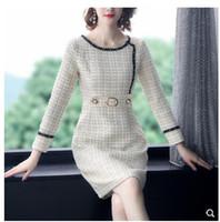 Yeni tasarım kadın OL o-boyun uzun kollu tüvit yün lurex tırmanmak bling diz boyu kalem elbise vestidos