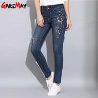 Garemay Узкие джинсы с вышивкой Woman Spring 2019 Джинсовые эластичные женские джинсы Вышивка Mujer Модные тонкие джинсы для женщин Y19042901