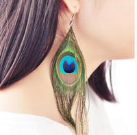 레트로 국가 스타일의 고급 공작 깃털 매달려 샹들리에 귀걸이 색상 야생 귀걸이 패션 트렌드 무료 배송