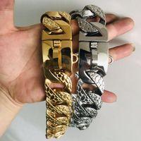 스테인레스 스틸 개 칼라 대형 개 체인 금속 강철 훈련 애완 동물 칼라 가죽 끈 32mm 핏불 불독 칼라 매력