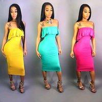여름 드레스 유럽과 미국의 패션 드레스 섹시한 여성의 폭발 단색 프릴 튜브 탑 스커트 2020 새로운 핫 판매