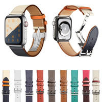Luxury Folding Buckle de couro real banda para Apple Watch 38 milímetros 40 milímetros 42 milímetros 44 milímetros pulseira Para a Apple Series iWatch 1 2 3 4 5 Strap Pulseira Belt