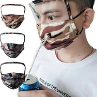 face mask with transparent eye shield washable reusable cotton facemask round drink mouth face masks Zipper face masks YYA76