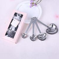 Из нержавеющей стали в форме сердца, измерения Ложки Set венчания ЛЮБОВЬ Новый 4шт / набор для каждого Подарочная коробка 300sets / серия RRA2744
