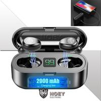 2000mAh Şarj Kutusu Perakende Ambalaj noey ile F9 TWS Kulaklık Bluetooth Mini Hassasiyet Su geçirmez Kulaklık Sport Oyun İş Kulaklık