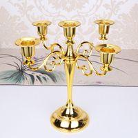 Fabbrica all'ingrosso prezzo economico metallo alto portacandele 5 bracci / 3 bracci candela stand decorazione di nozze candelabri festa di compleanno evento stand