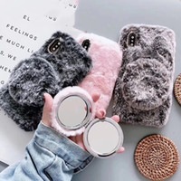 Peluş 11 peluş sonbahar ve kış koruyucu kapak 11pro makyaj aynası cep telefonu setleri özel mobil telefon kılıfı