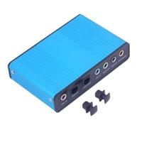 6 Canal 5.1 Áudio Externo placa de som S de áudio óptica / PDIF óptico placa de som Box para PC Notebook Laptop USB azul External