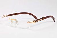 موضة جديدة نظارات شمس 2020 بدون شفة قرن الجاموس النظارات الشمسية النظارات النساء للرجال الخشب الخيزران إطار العدسات واضحة بدون شفة النظارات هلالية