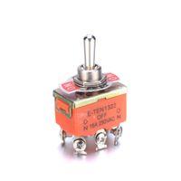 Mini 3-Pin ON-OFF-ON 15A 250V AC Laranja KN3C E-TEN1322 chave seletora 6 cabeça de alfinete 3 interruptor de grau duplo lance duplo pólo chave seletora