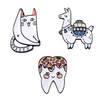 Venta al por mayor diente gato lindo broches y alfileres de regalo de dibujos animados broche regalo Pin diente broches alfileres broches de joyería para hombres mujeres