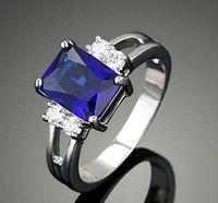 oro bianco anelli gioielli moda anelli di fidanzamento di marca come il diamante / Swarovski Crystal placcato Gemstone Rings