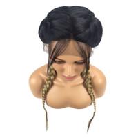 Pigtail Perücke Ombre Brown Double Braids Lace Front Perücke mit Babyhaar Mittelscheitel lange synthetische Perücken für afroamerikanische Frauen