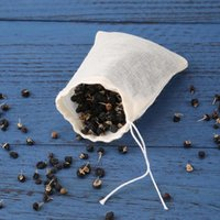 20pcs / Lot material de algodón Bolsas de té vacía con una cuerda Teaware de filtro para la hierba de té flojo sopa de condimento en la cocina bolsitas de té de la cocina Accessaries