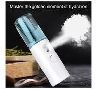 NUEVO blanco / rosa spray de vapor facial de vapor portátil Cara humidificador de carga USB Mini difusor del aroma del vapor de mano instrumento de la belleza