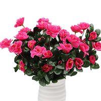 가을 야외 인공 붉은 진달래 꽃 덤불 고품질 Uv 방지 가짜 꽃 홈 장식 작은 장식 정원