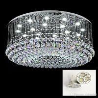 Lámparas de cristal redonda contemporánea LED Permetral Lluvia caída K9 del rubor del cristal LED Ceilinglights Monte Lustres accesorios de iluminación