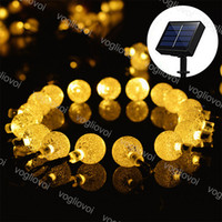 Lámparas de césped Luces de jardín solar LED Bombilla de cadena con burbuja 20 50 100leds Cálido blanco A prueba de agua para la fiesta de bodas de Navidad DHL