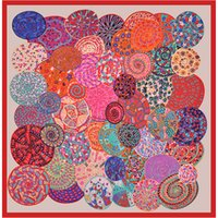 9182232c944 Cercle coloré H grand châle des femmes européennes et américaines 130  foulards carrés en sergé surdimensionné