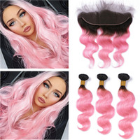 Dark Root 1B Pink Ombre Full Lace Frontal Closure 13x4 with ...