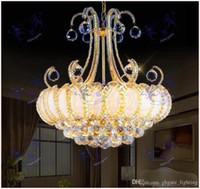 Luxe Vintage K9 Lustre d'or Lustre lustre en cristal de bohème Hanging lampes pour Hôtel Séjour