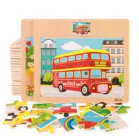 10 шт. / лот 12 ломтик деревянные головоломки дети творческий мультфильм животных / автомобиль детские Монтессори игрушки образовательные обучающие игрушки для детей SL-V010