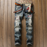 Ripped Hole Bleached Men Denim Jeans Straight Washed Distressed Retro Fashion Male Cowboy Pants Casual Embroidery