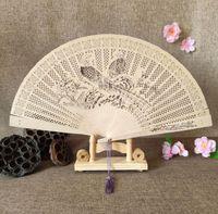 100pcs aromatique en bois sculpté de poche parfum chinois Pliant en bois Fan Elegent Accueil Décor Party Cadeaux Wedding Favor SN1022