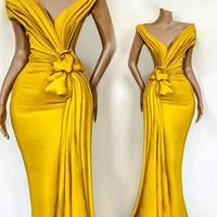 Atemberaubende gelbe Meerjungfrau-Abendkleider Falten gekrotteten Schulter-Sweep-Zug formale Partykleid Celebrity Pageant-Kleider Abendkleidung