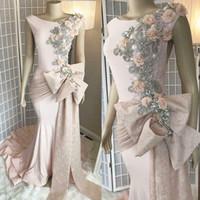 Dress 2019 Luxury Pink Blush Appliqued merletto promenade della sirena di formato più rilievo di cristallo abito di sera africano partito formale spettacolo Wear
