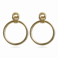 New Silver Gold Color Hollow Big Round Earrings Hiphop Simpl...
