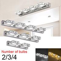 USA STOCK داخلي الإضاءة LED مصابيح الحائط 6W 9W 12W أربعة مصابيح كريستال سطح حمام غرفة النوم مصباح الضوء الأبيض الفضي
