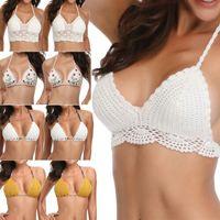 0958fafc6bf49 2019 Sexy Women Bikinsi crop top Crochet Lace Bralette Knit Bra Boho Beach  Bikini Halter Cami Tank Crop Top Bathing Suit Women