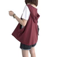 Büyük Boy Rahat Gevşek Yelek Kadın Yaz Yeni Giyim Vahşi Basit kolsuz Gömlek Pamuk Tank Tee Gömlek Moda Kapüşonlu f700 Tops