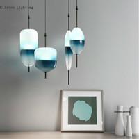 luce moderna del pendente di vetro blu a forma di lacrima Nordic LED Art Deco semplice lampada a sospensione bianco per soggiorno cucina ristorante