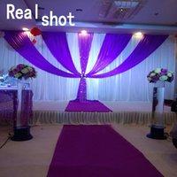 3x6m роскошный белый и фиолетовый свадебный фон драпировки с съемной Хабар свадебные украшения фон занавес Бесплатная доставка