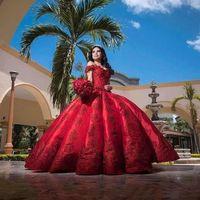 빈티지 공 가운 빨간색 QuinceARERA 드레스 숄더 아플리케 긴 달콤한 16 댄스 파티 가운 오프