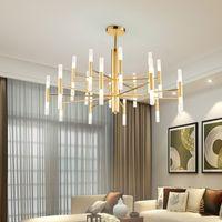 현대 패션 디자이너 블랙 골드 LED 천장 아트 데코 부엌 거실 로프트 침실에 대 한 샹들리에 조명 램프 일시 중단