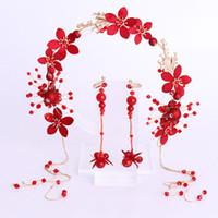 Venda quente Contas de Flor de Cristal Vermelho Conjunto de Jóias Mulheres Noiva Hairband Tiaras e Brincos Definir Acessórios Do Cabelo Do Casamento Chinês JL