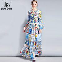 Ld Linda Della Fashion Designer Maxi Dress 3XL Plus Size manches longues Boho fleur colorée de femmes Imprimer Robe longue Casual Y19012201