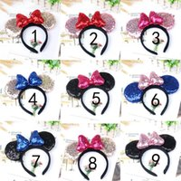 Girl Cute Black Mouse Sequin Crown Ears Hairband With Sequin...