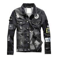 Mcikkny Mode Herren Ripped Zerstörte Jeansjacken Badge Patchwork Jeans Jacken für Männer Washed High Street