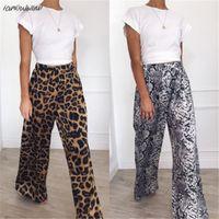 Мода повседневная высокая талия леопард свободные женские брюки комфортным узором пролет широкие ноги длинные печать животных девочек брюки