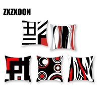Black and Red Geometric Pattern Polyester Throw Pillow Livin...