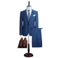 DAROuomo Erkekler Pantolon Ile Blazer Suits Slim Fit Casual Bir Düğme Ceket Düğün için C18122501